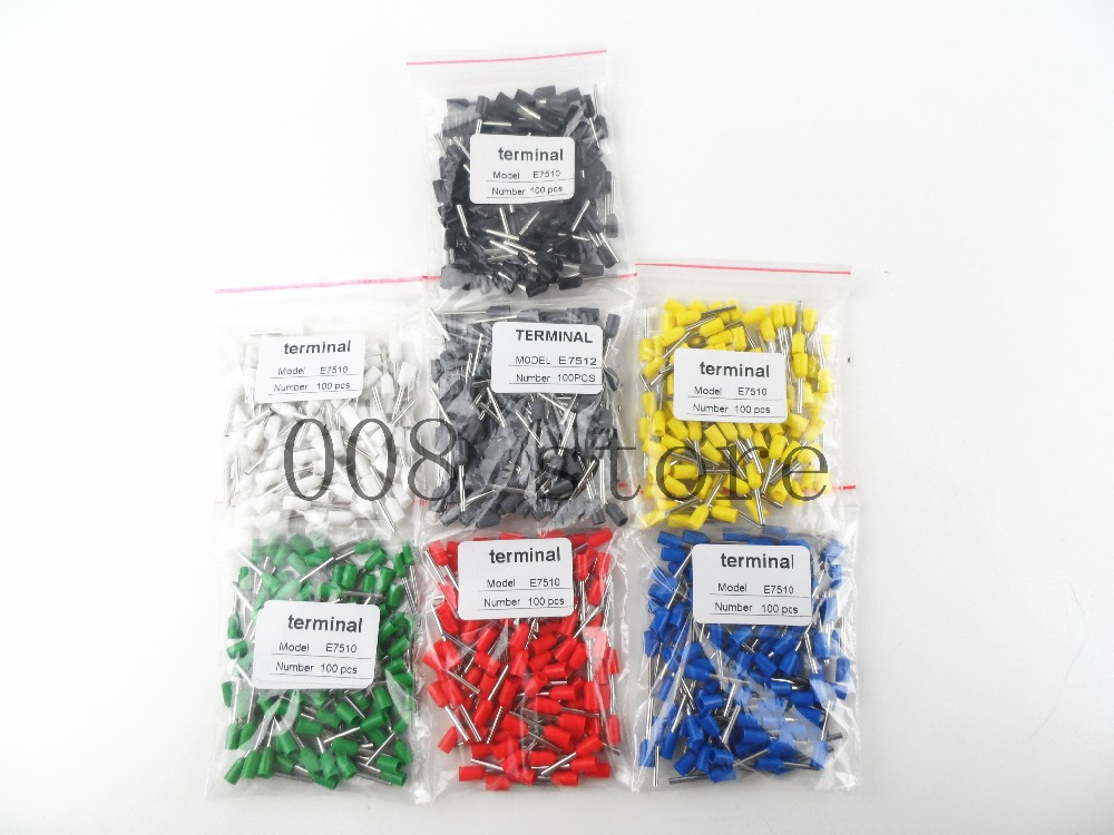 100Pcs E7508 20AWG 0.75mm2 Black Wire Crimp Terminal Insulated Bootlace Ferrule