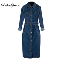 Rihschpiece Summer Tunic Shirt Dress Women Denim Vintage Long Sleeve Jeans Dresses Party Sexy Plus Size