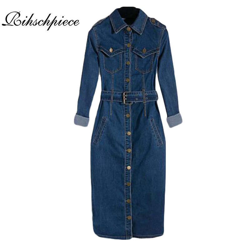 Rihschpiece Summer Tunic Shirt Dress Women Denim Vintage ...