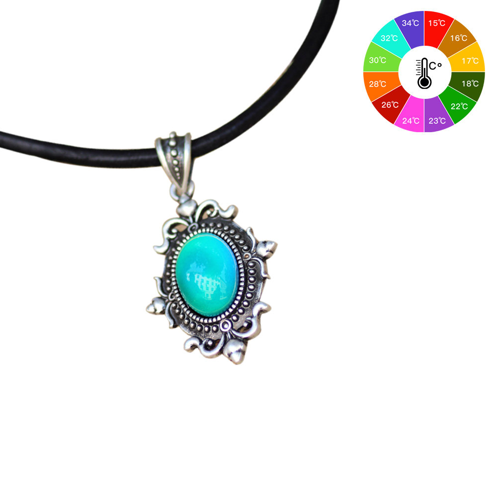 Vintage Design In Real Antique Plating Mood Pendant Calf Leather Rope Mood Color Changing Necklace Silver MJ-SNK001 faux leather rope vintage necklace