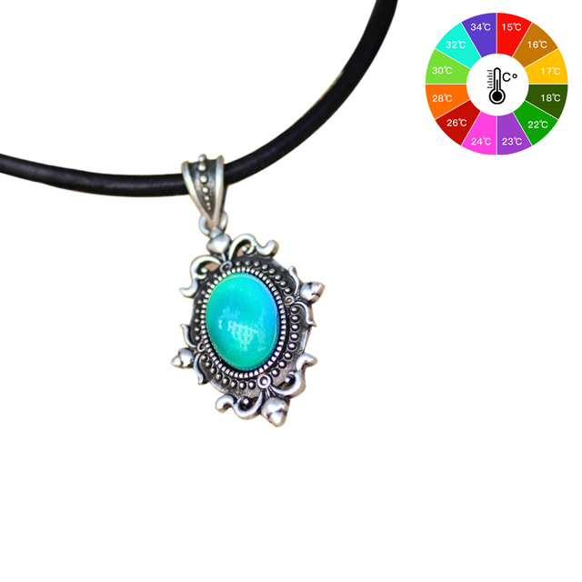 Vintage design in real antique plating mood pendant calf leather vintage design in real antique plating mood pendant calf leather rope mood color changing necklace silver aloadofball Gallery