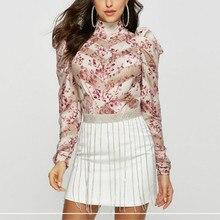 Взлетно-посадочной полосы печатная блузка для Женская пикантная, прозрачная в стиле пэчворк, воротник-стойка, с оборками и принтом Летние шифоновые рубашки шикарное платье с рукавами-фонариками