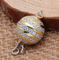 Con zirconio inserisci sfera catenaccio, 12mm argento 925 FAI DA TE di alta qualità naturale collana di perle di cristallo, braccialetto fibbia.-L59C