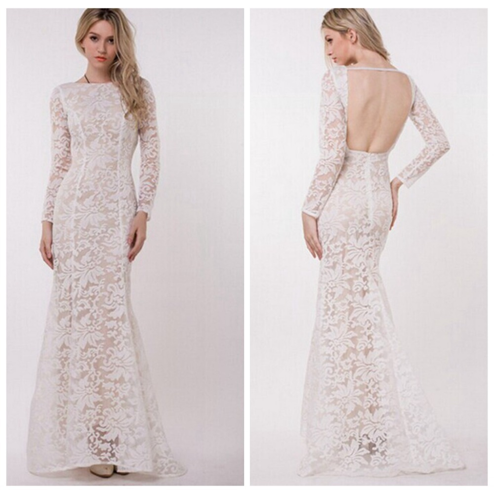 6f36601a1775 Women Celebrity Elegant Vintage Floral White Lace Dress backless Long Sleeve  Tunic Party Formal Bodycon Sheath Maxi Dress