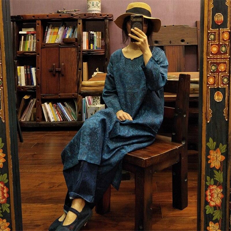 Women Blue Print Floral Dress Ramie V Neck Long Sleeve Spring New High Quality Women Cloths