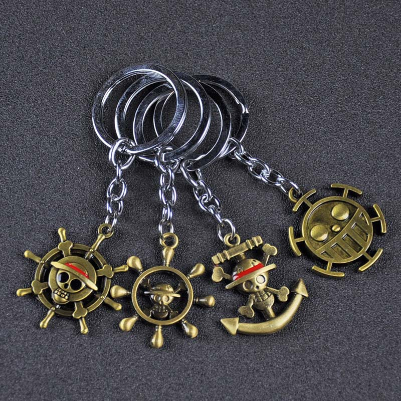 One Piece Luffy Hat Key Ring One Piece Thousand Sunny Pirate Ship Toy Banner Pendant One Piece Anime Keychain