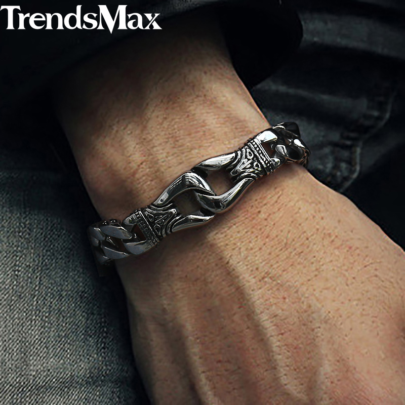 Trendsmax Bracelet for Men 316L Stainless Steel Curb Cuban Link Chain Bracelet Totem Knot Charm Wristband Men Fashion Gift HB10