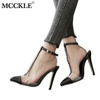Mcckle النساء الربيع واشار تو المسامير إبزيم حزام رقيقة عالية الكعب الصنادل رباط الكاحل أزياء السيدات شفافة الأحذية خنجر