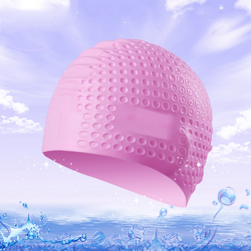 7 Colors Swimming Caps For Long Hair Silicone Swim Cap Waterproof omen and Men Universal Hair Ear Protect Swimming Hat new print flower swimming cap waterproof protect ears long hair swim pool hat for adults and kids training swim hat cap 9 colors