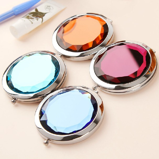 50X Cosmetic Compact Mirror Back Engraved Crystal Magnifying Make Up Mirror Gift DROP SHIPPING 18023S 1