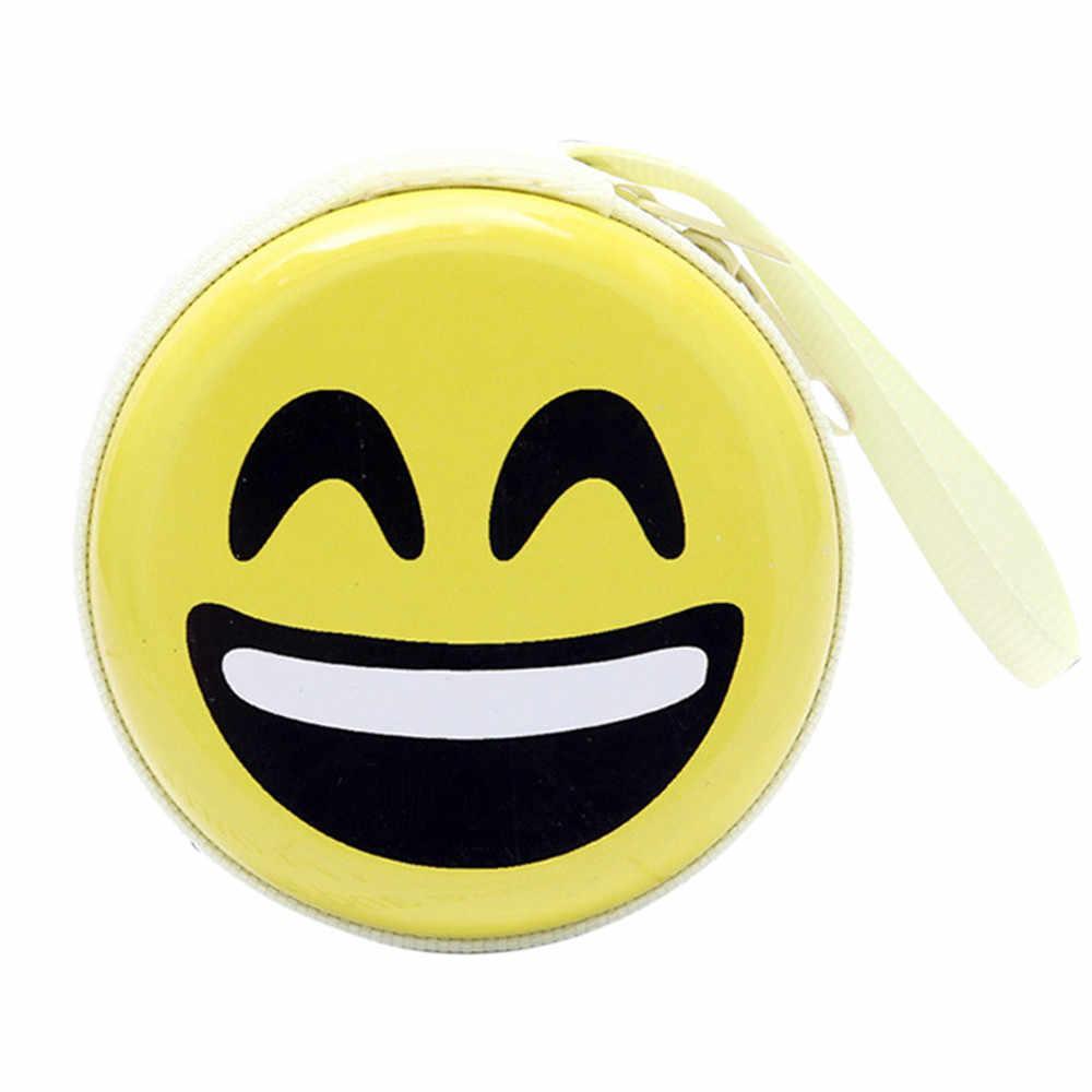 Mini Coin Purse Bonito Expressão Elementos Rodada Headset Flandres Criativo Bolsa Chave Bolsa Com Zíper Da Bolsa Da Carteira Dos Desenhos Animados Crianças Meninas