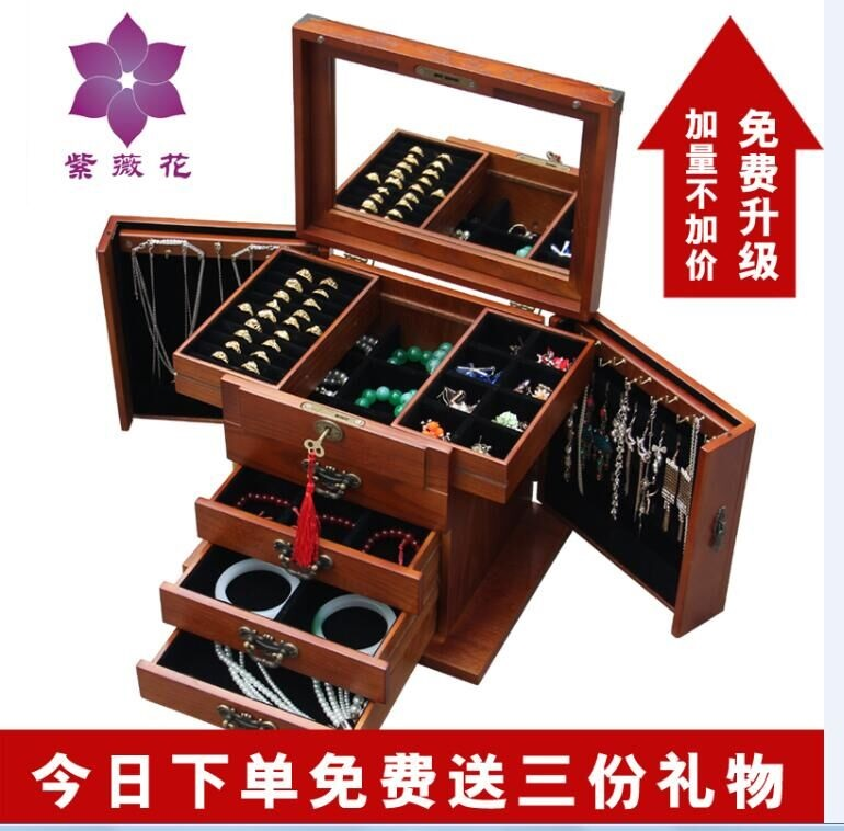 Real wooden jewelry box with a lock princess Europe type ...