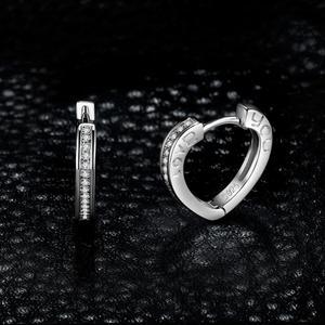 Image 3 - JewelryPalace aşk CZ Hoop küpe kanal seti kadınlar için 925 ayar gümüş küpe kore küpe moda takı 2020