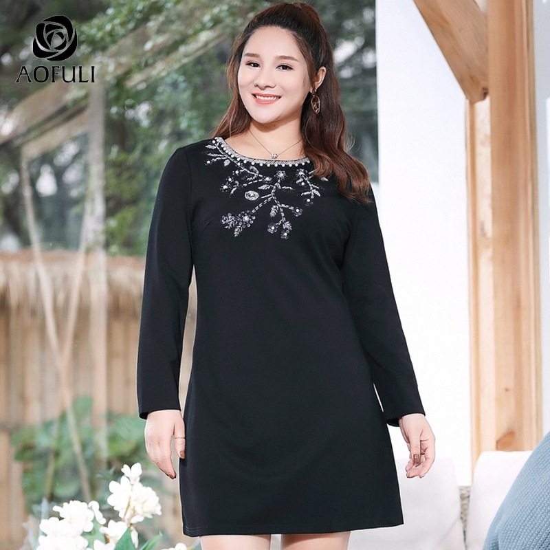 AOFULI Big Size 5xl Floral Sequin Beading Spring Dress Women Solid Straight Dresses Spring Long Sleeve