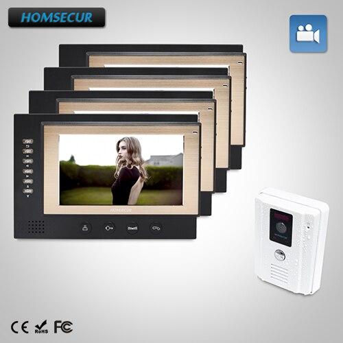 HOMSECUR 7 Hands-free Video&Audio Home Intercom+One Button Unlock for Apartment : TC011-W Camera(White)+TM701R-B Monitor(Black)