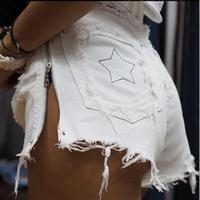 Ripped Short Jeans Holes High Waist Sexy Hot Denim Shorts For Lady Side Zipper plus size
