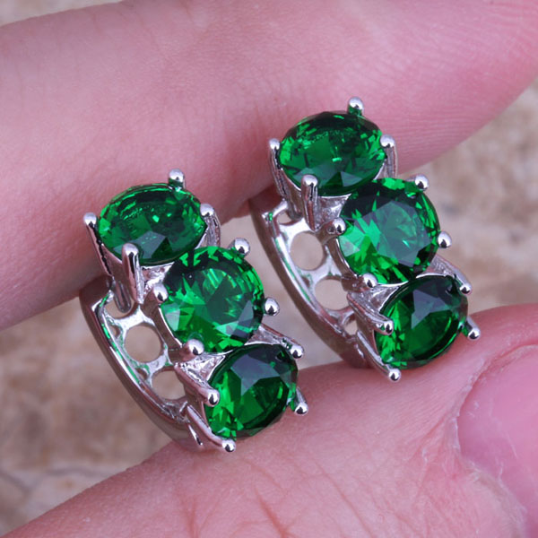 Delicate Green  Cubic Zirconia 925 Sterling Silver Huggie Hoop Earrings For Women  S0228