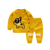 Newborn Baby Super Cute Clothing Sets Cotton Knitted Sweaters Sets Boys Girls Spring Outwear+Striped Clothing Sets AA12190