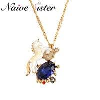 Luxury Fashion Unicorn Pendant Necklace Blue Crystal Enamel Jewelry Cute Horse Pendants Necklaces For Girl Women