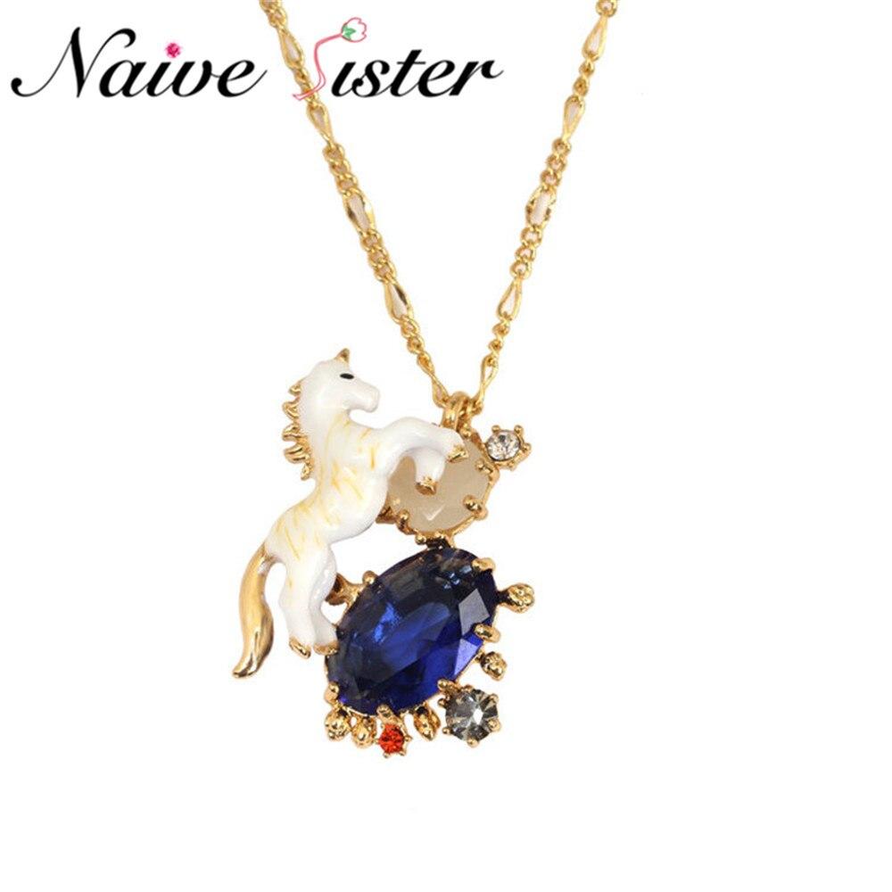Luxury Fashion Unicorn Pendant Necklace Blue Crystal Enamel Jewelry Cute Horse Pendants Necklaces For Girl Women Kids Gift