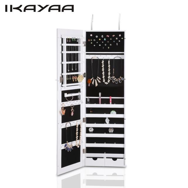 Ikayaa Fashion Mirrored Hanging Jewelry Armoire Cabinet Jewelry