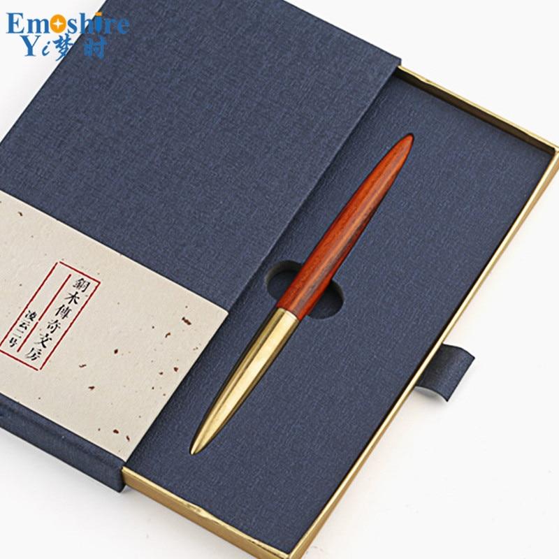 все цены на Brass Solid Wood Signature Pen Wood Ballpoint Pen Black Roller Ball Pen High-grade Business Gifts Personalized Stationery P441 онлайн