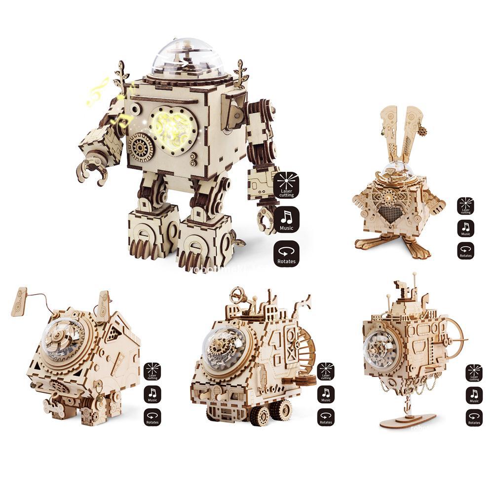 Punk Style Robot Music toy Box Wooden Music Clockwork Box Beauty best Gifts For Friends Children
