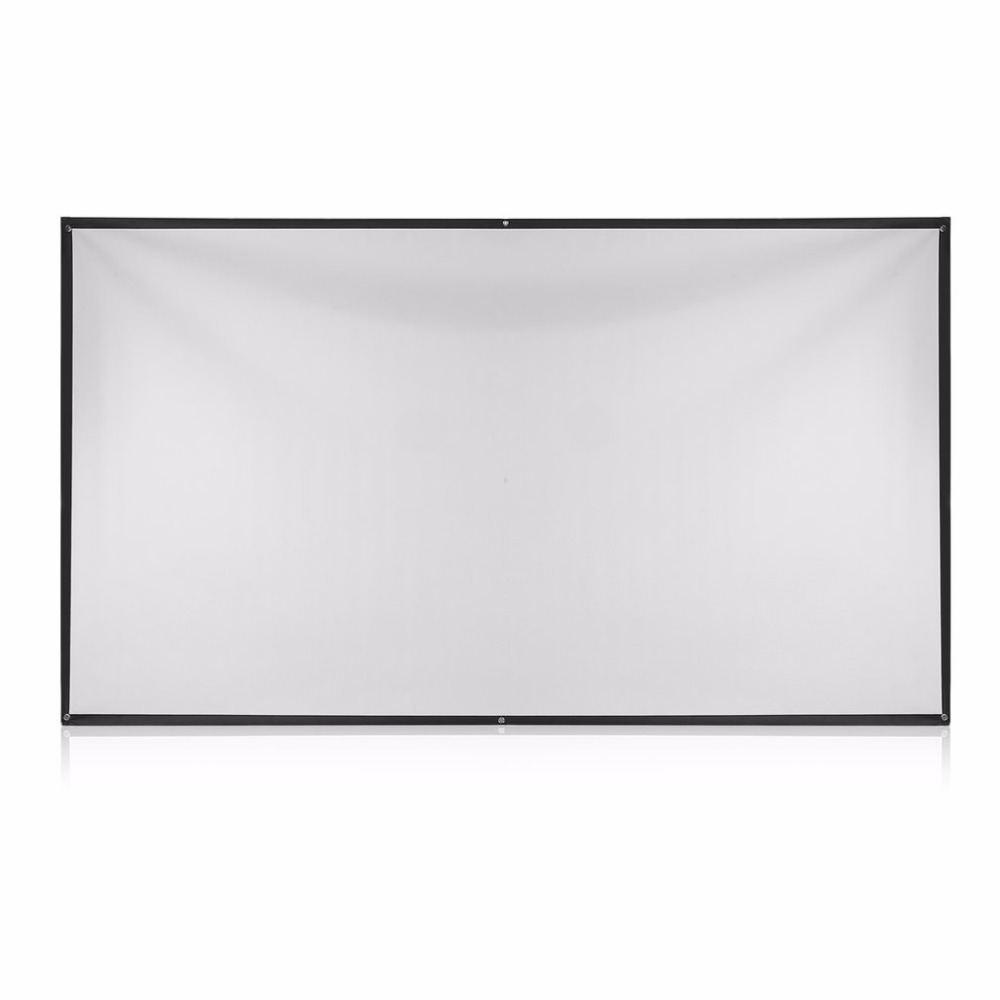 OWLENZ 100 Inch 16:9 Projection Screen Simple Fabric Roll Up Projector Screen White&Black Curtain For Business Meeting