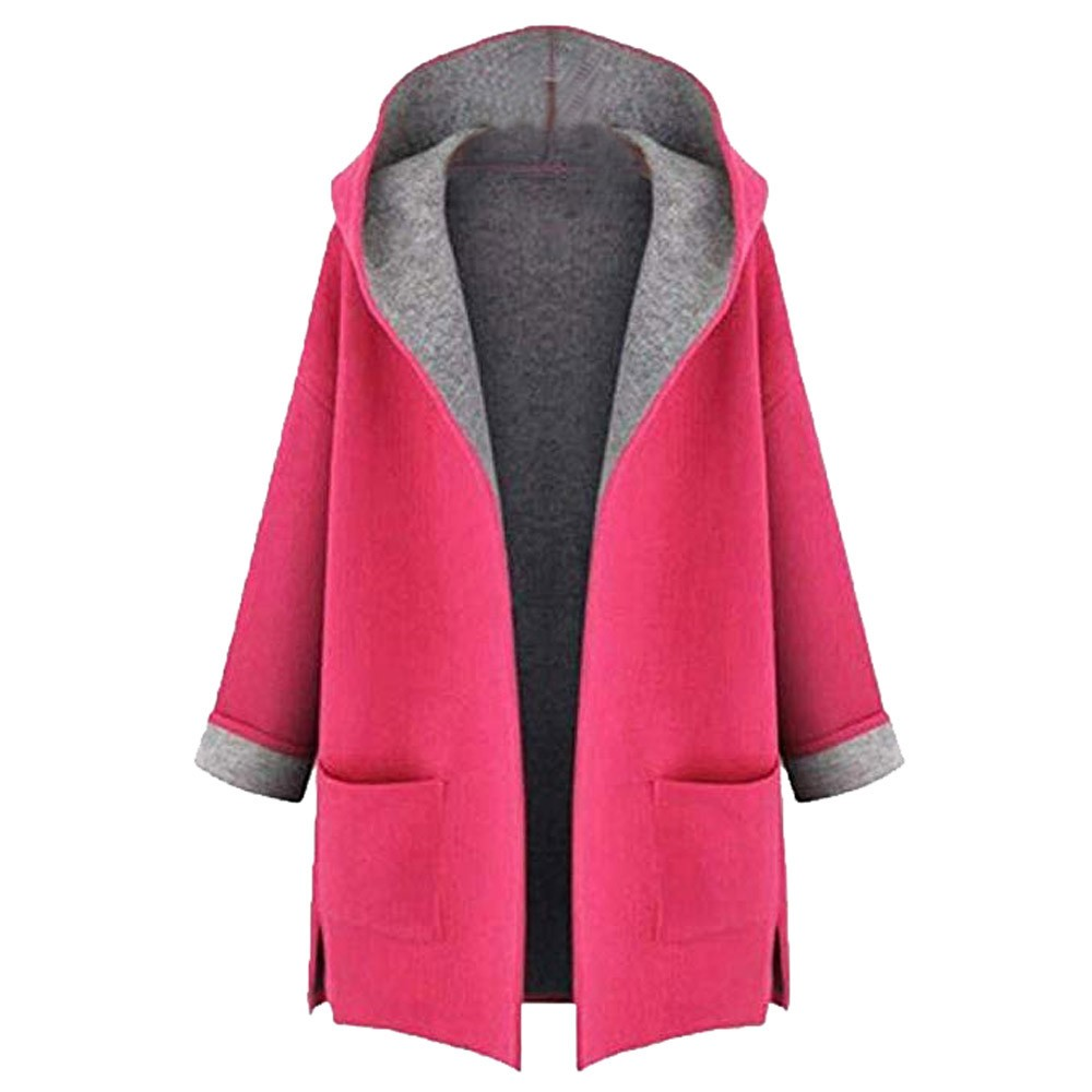 Women's Fahion Coat Jacket Medium Long Large Size Loose Front Open Coats Oversize Hoodies Jacket Overcoat Top pocket female  1