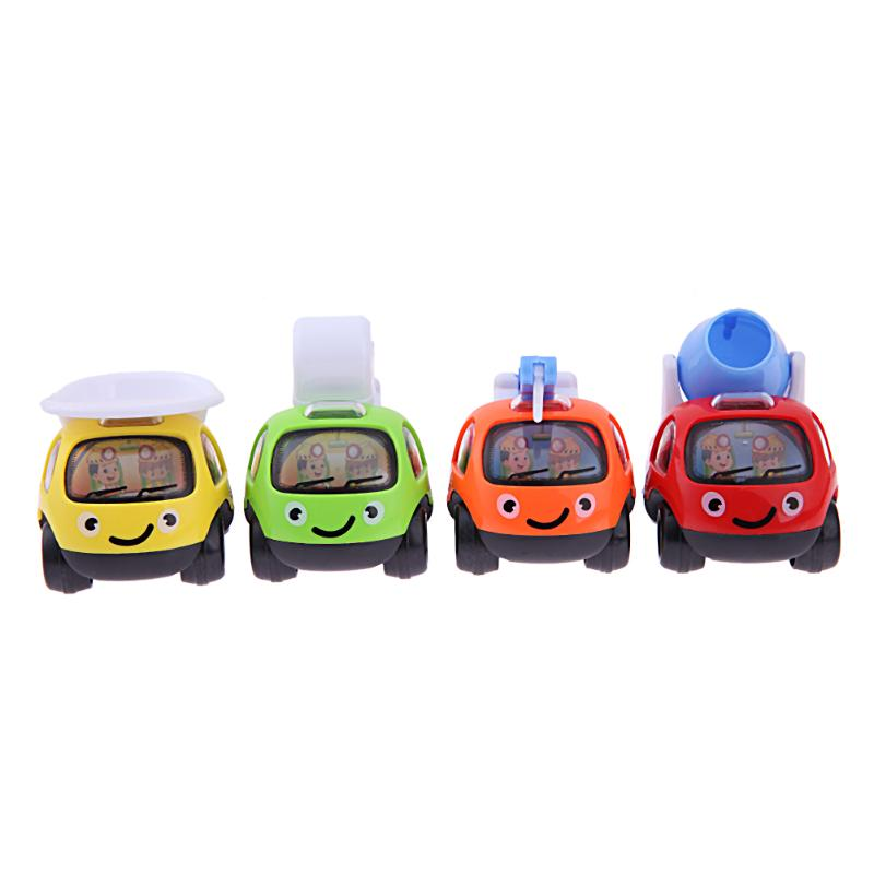4pcs Cartoon Pull Back Engineering Truck Model Kids Puzzle Car Toy Gifts Funny Truck Children Baby Toy Gift