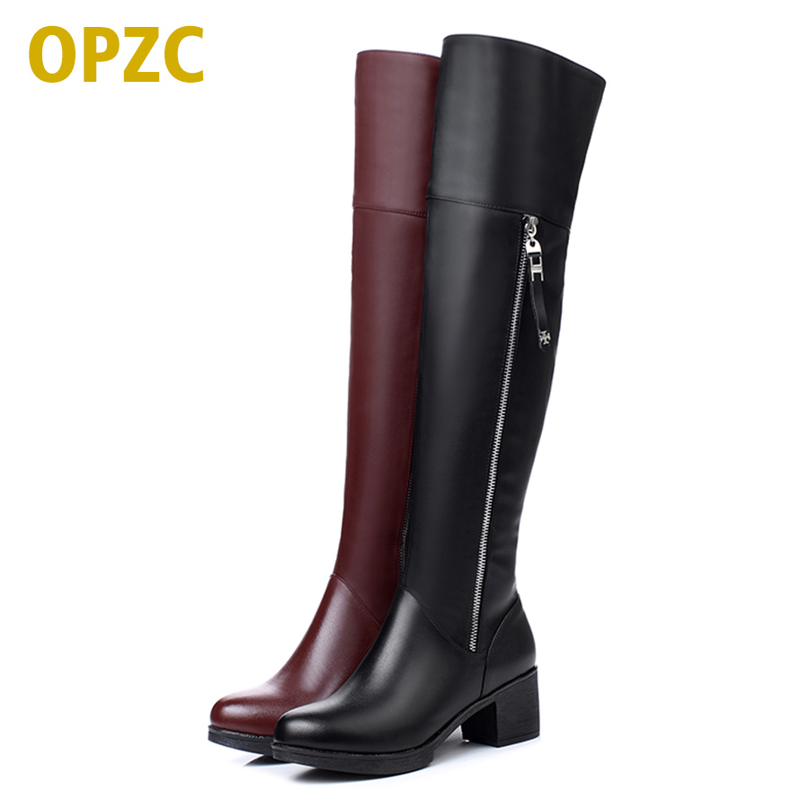 OPZC Women Over knee boots Genuine Leather Women Shoes thick Warm Winter long Boots Fashion High Heel Women Motorcycle Boots 2018 new arrival genuine leather fashion boots thick heel winter shoe motorcycle boots rivets party runway women ankle boots l09