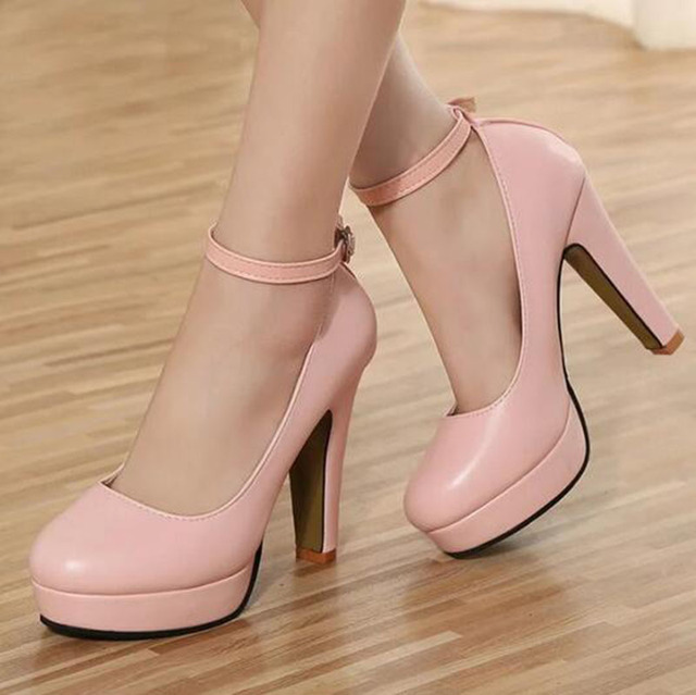[H]Spring 2016 new European and American big yards fashion high heels shoes waterproof bandage thick with 10cm  .XXXY-272