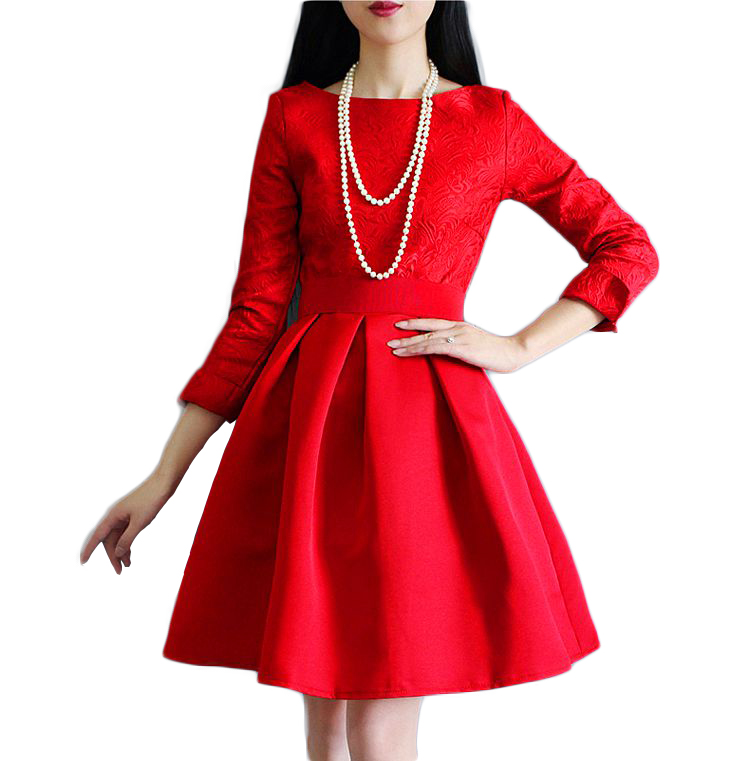 45b8ce8ff6 Long sleeve high waisted lace dresses for women red A line skater dresses  ladies black midi