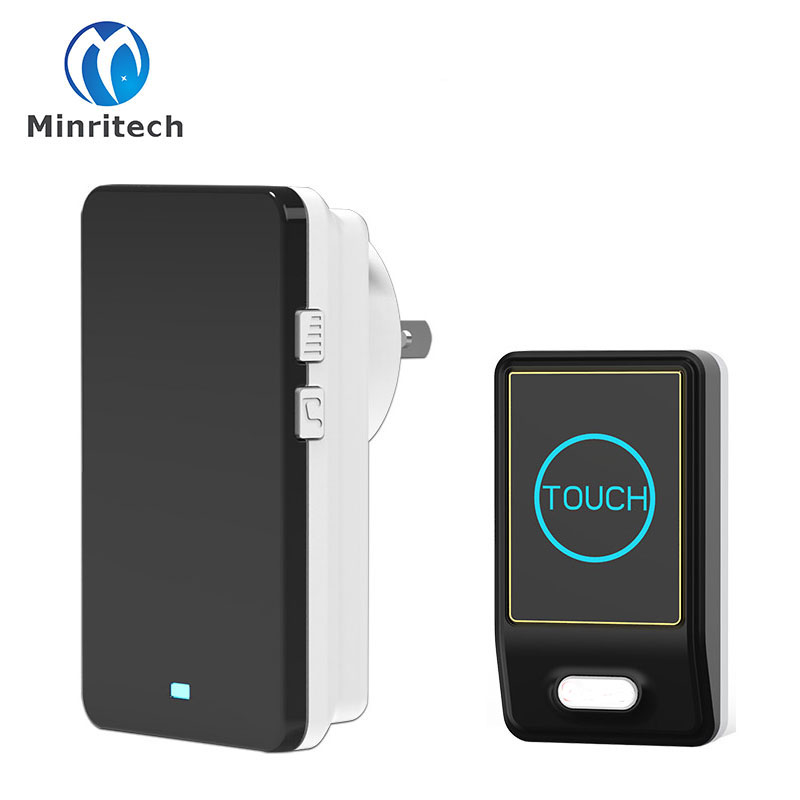 New EU/US/UK/AU Plug Touch Doorbell  1 Touch Transmitter+ 1 Receiver Waterproof Wireless Door Bell 36 Chord Ringtones Doorbell new restaurant equipment wireless buzzer calling system 25pcs table bell with 4 waiter pager receiver