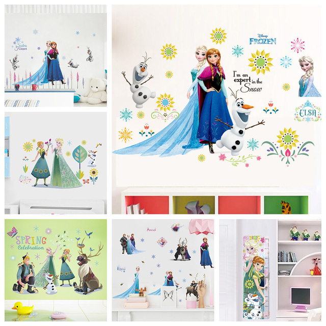Elsa Anna Princess Frozen Wall Stickers For Kids Room Decoration Diy Cartoon Wall Mural Art Anime Posters Pvc Home Decals