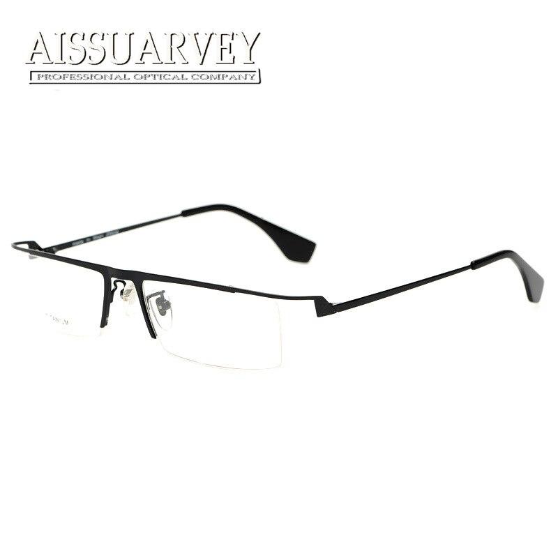 Men glasses frame pure titanium optical eyeglasses prescription half rim square fashion brand designer handsome light