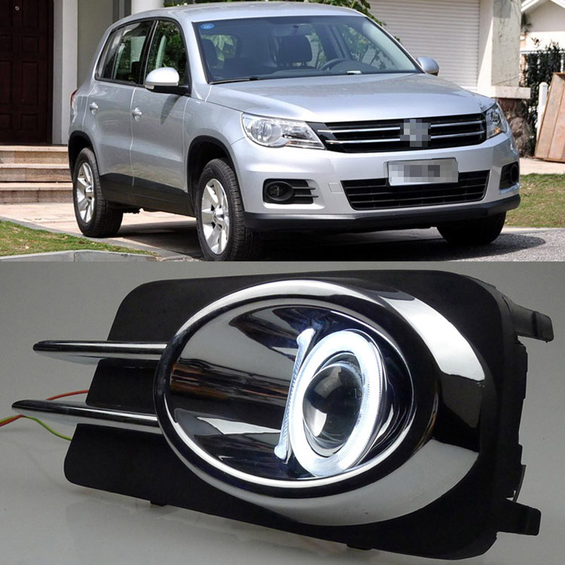 Ownsun COB Angel Eye Rings Projector Lens with 3000K Halogen Lamp Source Black Fog Lights Bumper Cover For VW Tiguan 2010-2012 ownsun new innovative cob fog light angel eye bumper projector lens for mazda 6