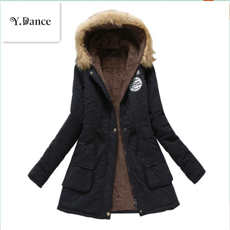 2019 Sell like hot cakes Winter Solid Cotton Fleece Hooded   Parkas   Coat Women Casual Plus Size Slim Zipper DrawString   Parkas