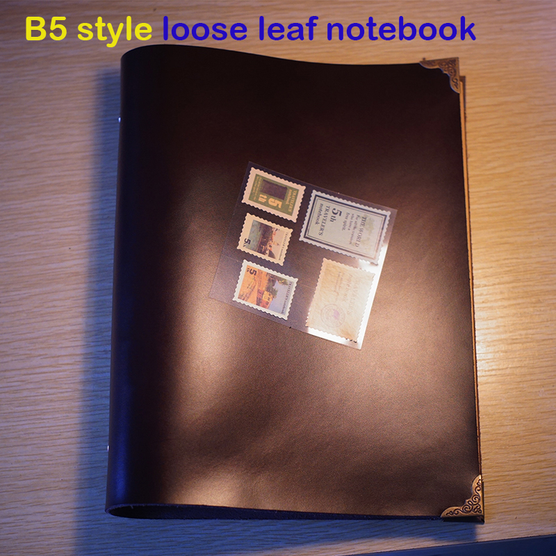 Handmade B5 size planner handmade genuine leather notebook 9 holes free imprint loose leaf kraft paper journal notebook standard b5 spiral notebook inside 60 pcs quality kraft paper page 9 hole on paper loose leaf page for genuine leather notebook