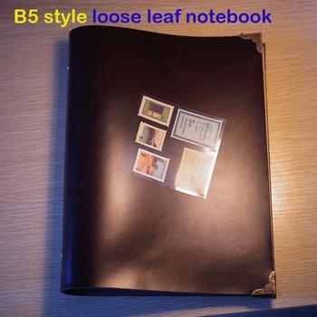 Handmade B5 size planner handmade genuine leather notebook 9 holes  free imprint loose leaf   kraft paper  journal notebook