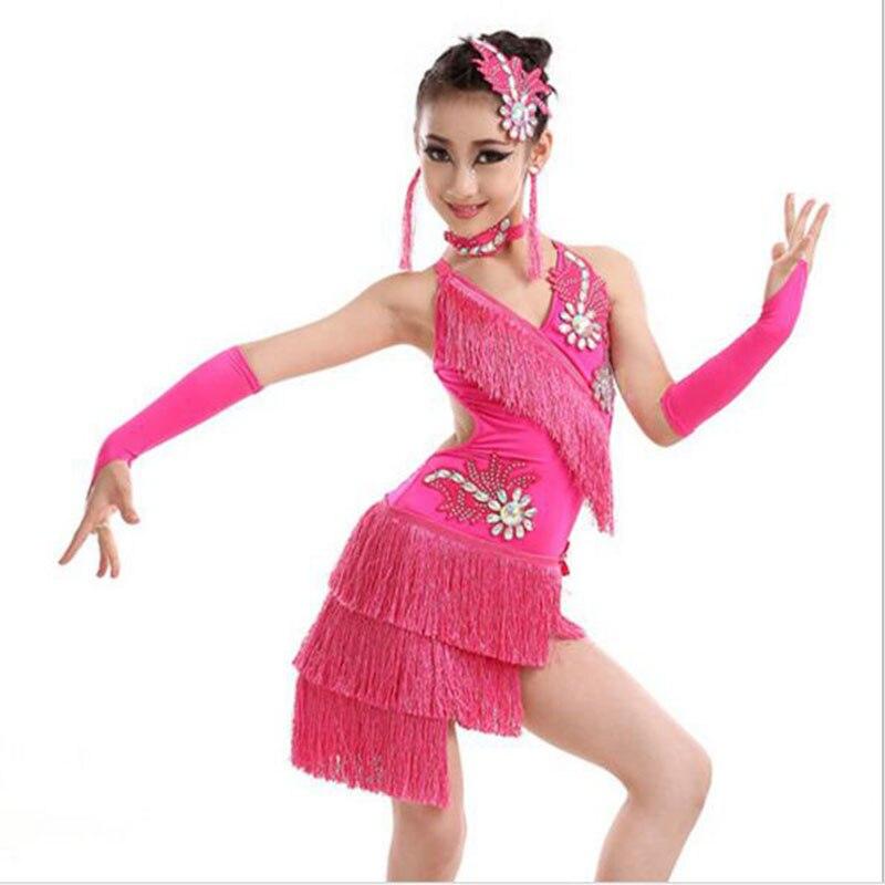 Vêtements de pratique latine enfant samba rose rouge violet blanc vert robes de bal sexy filles costumes de danse latine