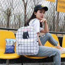 Японский Kawaii Девушка школьник школьная сумка кошка печать на холсте свежий Винтаж Рюкзак Простой Досуг мультфильм рюкзак