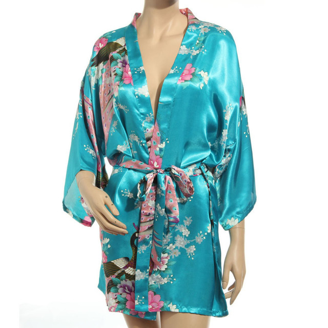 Sexy Kimono Robes For Women Satin Bathrobe Short Silk Robes For Bridesmaids Longue Female Women Dressing Gown Wedding Robe