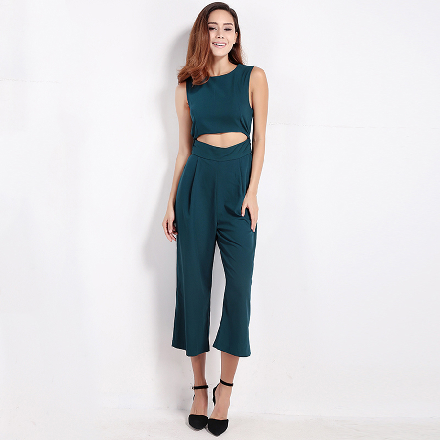 7162d92ea6f Sexy Sleeveless Green Halter Jumpsuit Women Bandage Ladies Bodysuits Fashion  Nova Short Feminino African Women Rompers 55-in Jumpsuits from Women s  Clothing ...