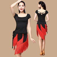 Latin Dance Costumes Women Adult Autumn And Winter New Suit Short Sleeve Latin Dress Fringed Dress