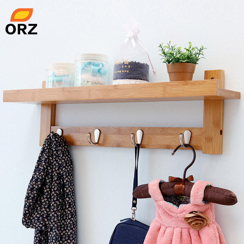 ORZ Bamboo Wall Shelf Coat Hook Rack With 4 Alloy Hooks