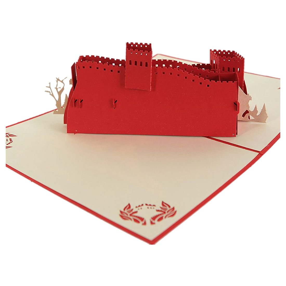 Lowered Paper Craft Pop Up 3d Great Wall Greeting Cards Freeporonrth
