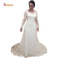 Sunzeus A-Line Scoop Wedding Dresses Long Sleeve Backless
