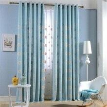 2017 novas cortinas cortinas de flores brancas dos desenhos animados animação azul translúcido verde cortinas de linho quarto cortinas da sala