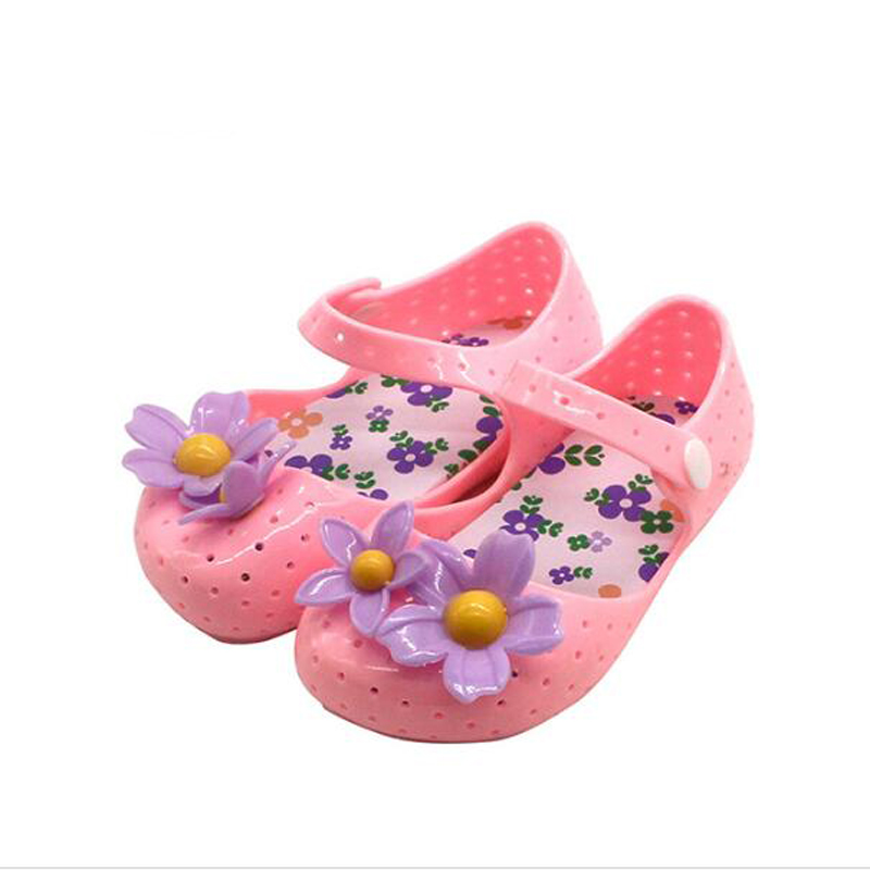MEMON Gadis sandal PVC Kulit Lembut dengan tumit datar Lucu bunga Gadis sepatu Anak-anak Sepatu ukuran US 6-11